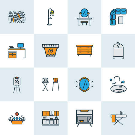 Decor icons colored line set with clothing rack, window plant, sink and other pier-glass elements. Isolated vector illustration decor icons.