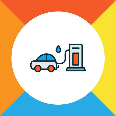 Gas station icon colored line symbol. Premium quality isolated fuel element in trendy style.