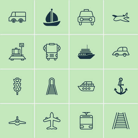 Delivery icons set with car vehicle, combat aircraft, tram and other auto car elements. Isolated vector illustration delivery icons.