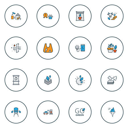 Eco icons colored line set with smart home, fertilizer, water tank and other reservoir elements. Isolated vector illustration eco icons.