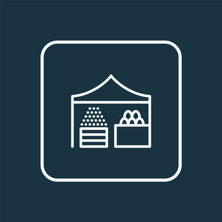 Farmer stall icon line symbol. Premium quality isolated storefront element in trendy style.