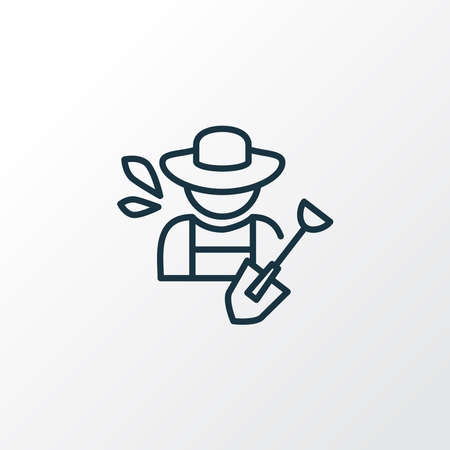 Farmer with shovel icon line symbol. Premium quality isolated gardening element in trendy style.