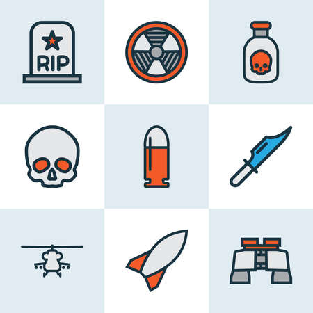 Warfare icons colored line set with binoculars, soldier grave, bullet and other hunting blade elements. Isolated vector illustration warfare icons. Ilustracja