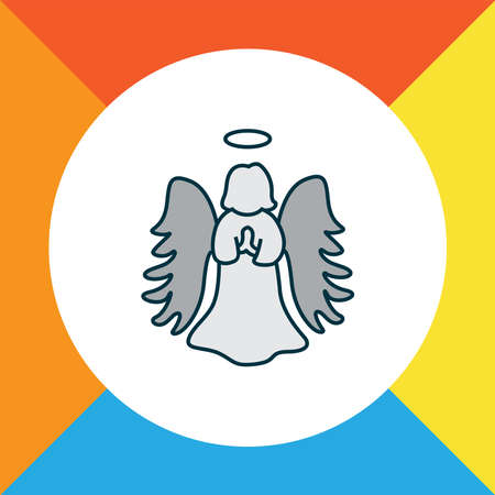 Angel icon colored line symbol. Premium quality isolated halo element in trendy style.