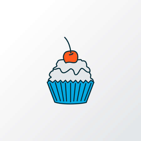 Cupcake icon colored line symbol. Premium quality isolated muffin element in trendy style.