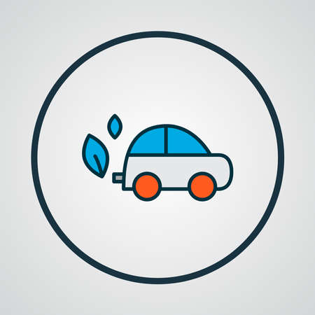 Eco car icon colored line symbol. Premium quality isolated automobile element in trendy style. Ilustração