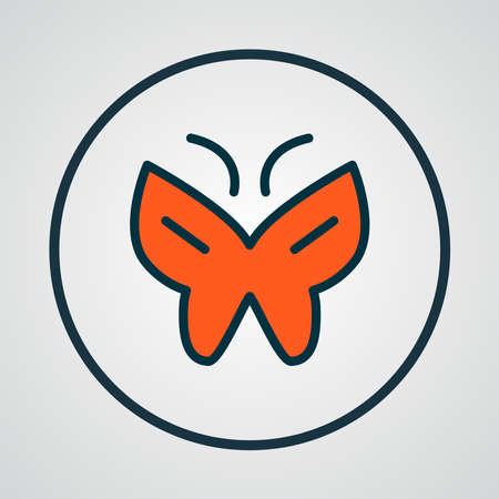 Butterfly icon colored line symbol. Premium quality isolated moth element in trendy style.