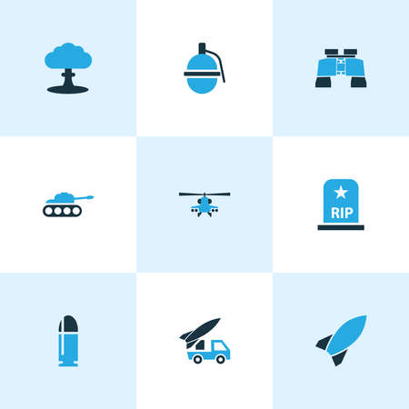 Warfare icons colored set with bomb, zoom, boom and other explosion elements. Isolated vector illustration warfare icons.