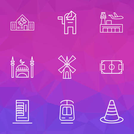 City icons line style set with mill, mosque, vending machine and other pitch elements. Isolated illustration city icons.