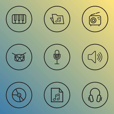 Audio icons line style set with radio, vinyl, piano and other soundtrack elements. Isolated illustration audio icons.