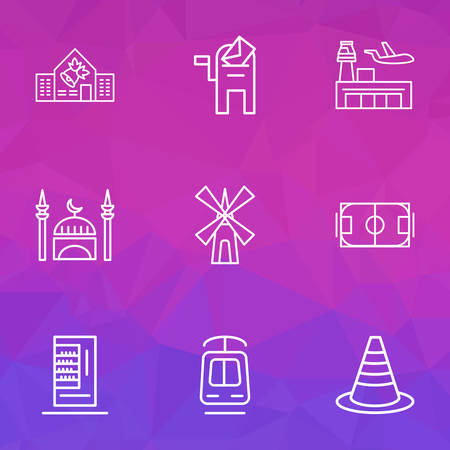 Urban icons line style set with mill, mosque, vending machine and other pitch