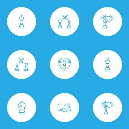 Hobby icons line style set with game, three players chess, hand with bishop checkmate elements. Isolated vector illustration hobby icons.