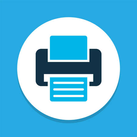 Printer icon colored symbol. Premium quality isolated fax element in trendy style. 向量圖像