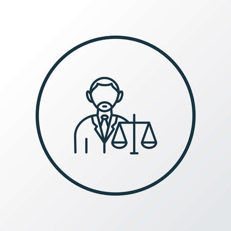Lawyer icon line symbol. Premium quality isolated judgment element in trendy style. Çizim