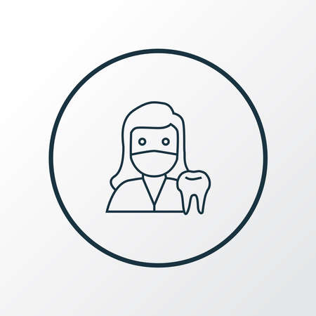 Dentist woman icon line symbol. Premium quality isolated doctor element in trendy style. Stok Fotoğraf