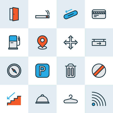 Direction icons colored line set with wifi, parking sign, smoke and other wardrobe elements. Isolated illustration direction icons.