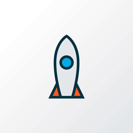 Rocket icon colored line symbol. Premium quality isolated spaceship element in trendy style.