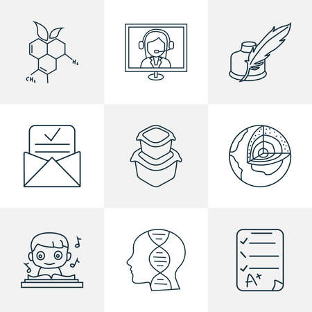 School icons line style set with online consultation, genetics, music and other schoolboy elements. Isolated vector illustration school icons.