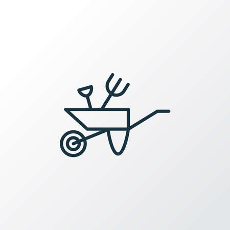 Garden wheelbarrow icon line symbol. Premium quality isolated pushcart element in trendy style.