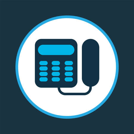 Landing phone icon colored symbol. Premium quality isolated old telephone element in trendy style.