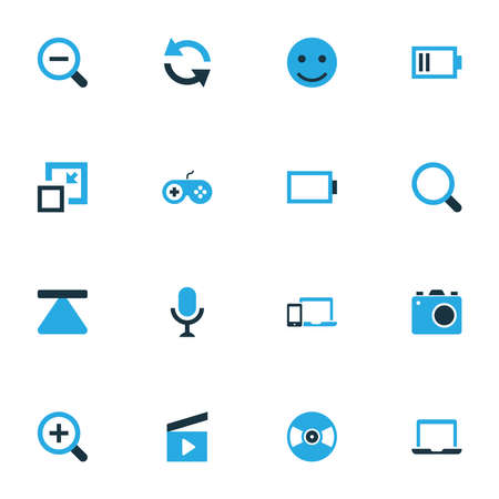 Multimedia icons colored set with photo apparatus, vinyl, gadget and other notebook
