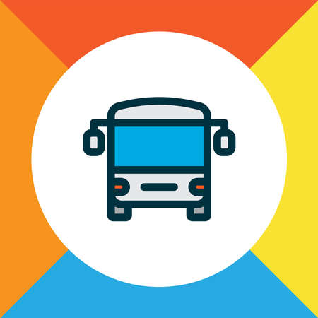 Bus icon colored line symbol. Premium quality isolated autobus element in trendy style. Çizim