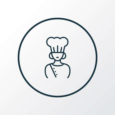 Chef icon line symbol. Premium quality isolated cook woman element in trendy style.