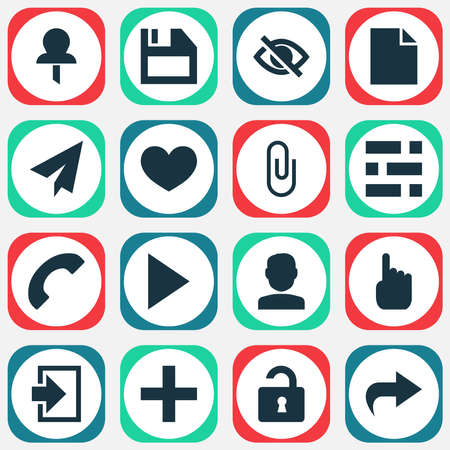 Interface icons set with add, call, heart and other pin elements. Isolated illustration interface icons. Stok Fotoğraf