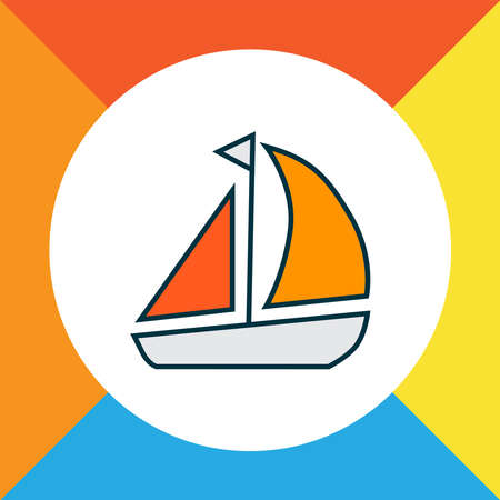 Ship icon colored line symbol. Premium quality isolated yacht element in trendy style.