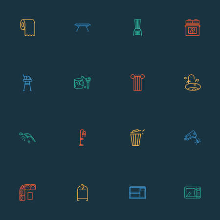 Decor icons line style set with sink, microwave, trash bin and other tissue roll elements. Isolated vector illustration decor icons.