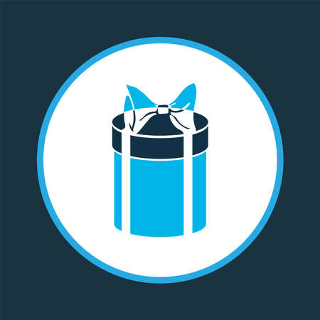 Gift box icon colored symbol. Premium quality isolated surprise element in trendy style.