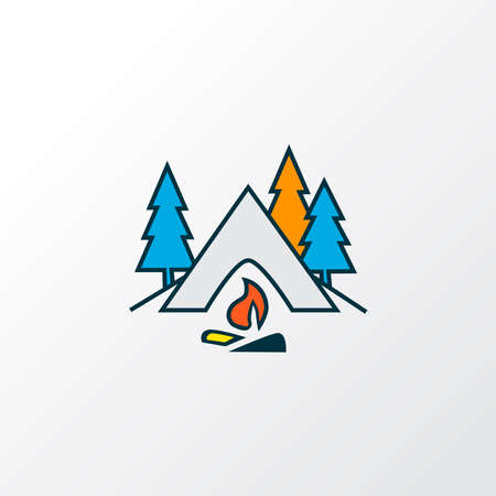 Camping icon colored line symbol. Premium quality isolated tourism element in trendy style.