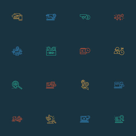 Optimization icons line style set with SEO package, all-day support, SEO guide and other intelligence elements. Isolated vector illustration optimization icons.
