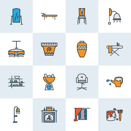 Decor icons colored line set with watering can, flower pot, floor lamp and other paint bucket elements. Isolated vector illustration decor icons.