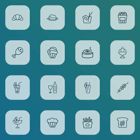 Food icons line style set with meat, french fries, toast bread and other chop elements. Isolated vector illustration food icons.