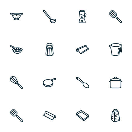 Dishware icons line style set with pan, blender, tin foil and other beater elements. Isolated vector illustration dishware icons. Illusztráció