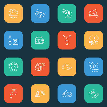 Environment icons line style set with clean water, zero waste, go vegan and other drop elements. Isolated vector illustration environment icons.