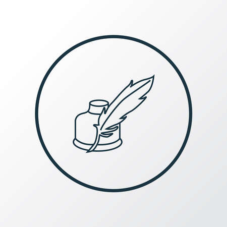 Quill pen icon line symbol. Premium quality isolated inkwell element in trendy style.