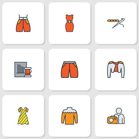 Fashionable icons colored line set with sleeveless dress, shorts, photograph and other beachwear elements. Isolated vector illustration fashionable icons. Stock Illustratie