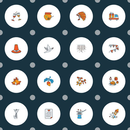 Festival icons colored line set with gift delivery, wish list, bells and other truck surprise elements. Isolated vector illustration festival icons.