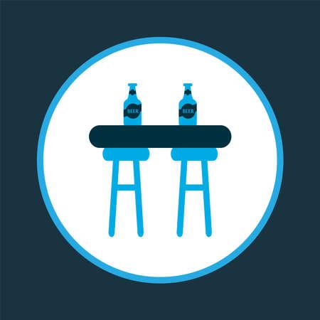 Bar counter icon colored symbol. Premium quality isolated pub interior element in trendy style. Ilustracja