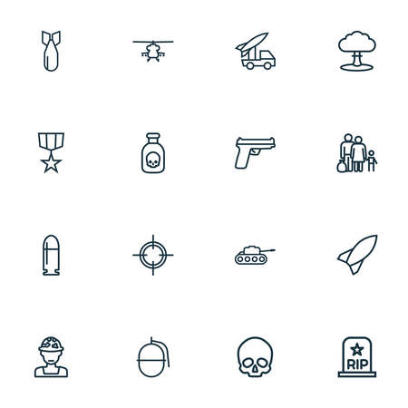 Army icons line style set with artillery, rocket, medal and other target elements. Isolated vector illustration army icons.