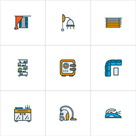 Home decoration icons colored line set with window, vacuum cleaner, bookshelf and other strongbox elements. Isolated vector illustration home decoration icons. Stock Illustratie