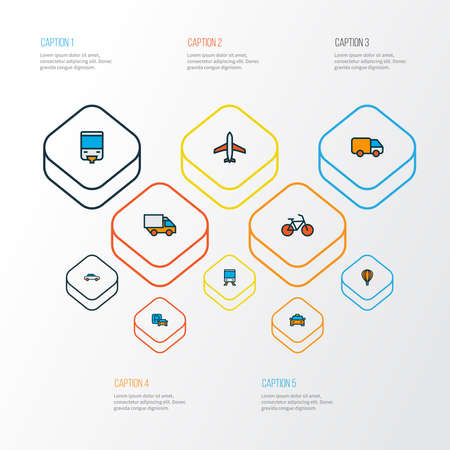 Transportation icons colored line set with airplane, monorail, van and other aircraft elements. Isolated vector illustration transportation icons.