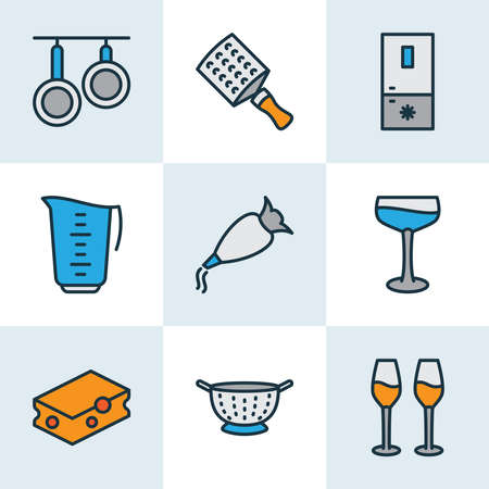 Gastronomy icons colored line set with wine glasses, freezer, whipped cream clay and other drainer elements. Isolated vector illustration gastronomy icons.