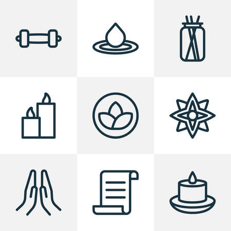 Meditation icons line style set with lotus, candle, floral lily elements. Isolated vector illustration meditation icons. Illusztráció