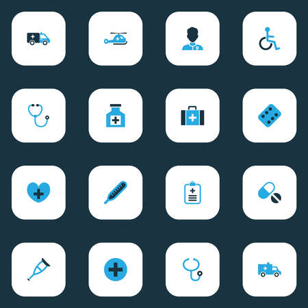 Medicine icons colored set with crutch, stethoscope, aid-case and other physician elements. Isolated vector illustration medicine icons. 版權商用圖片 - 150991628