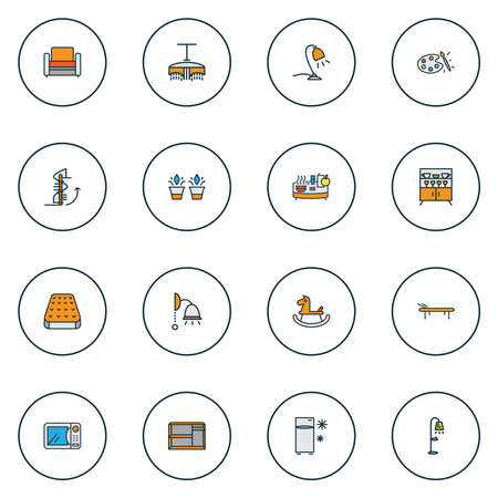 Home decoration icons colored line set with circular staircase, daybed, microwave and other streetlight elements. Isolated vector illustration home decoration icons. 矢量图像
