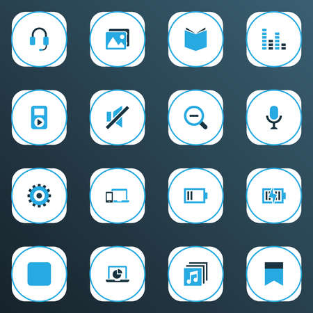 Multimedia icons colored set with low battery, picture, zoom out and other devices elements. Isolated vector illustration multimedia icons. 向量圖像