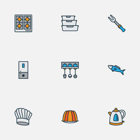 Gastronomy icons colored line set with food containers, barbecue fork, stove and other fridge elements. Isolated vector illustration gastronomy icons. Ilustração